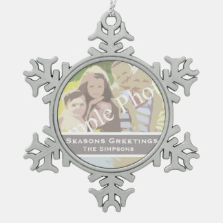 Add your photo, text. Seasons greetings, Christmas Pewter Snowflake Decoration