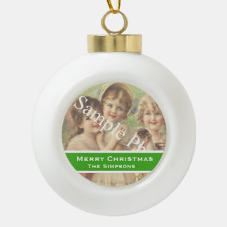 Add your photo, text. Seasons greetings, Christmas Ceramic Ball Decoration