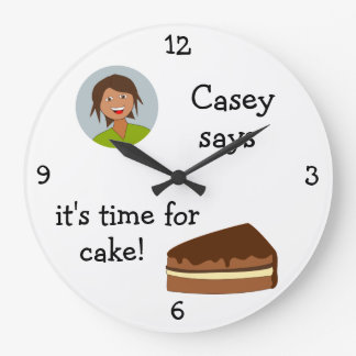 Add Your Photo: 'Time for Cake' Wall Clocks