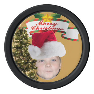 Add Your Photo To A Merry Christmas Tree Scene Poker Chips