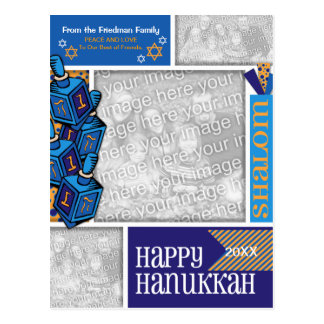 ADD YOUR PHOTOS Hanukkah Whimsical Dreidel Postcard