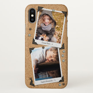 Add Your Pictures Cute Messy Bulletin Board Photo iPhone X Case