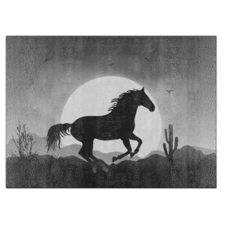 Add Your Text Horse in Black and White Silhouette Cutting Board