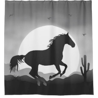 Add Your Text Horse in Black and White Silhouette Shower Curtain