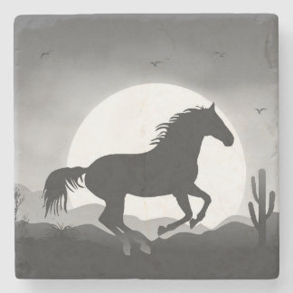 Add Your Text Horse in Black and White Silhouette Stone Coaster