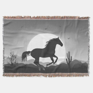 Add Your Text Horse in Black and White Silhouette Throw Blanket