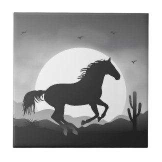 Add Your Text Horse in Black and White Silhouette Tile
