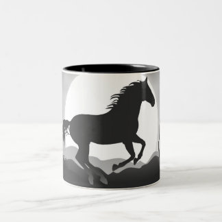 Add Your Text Horse in Black and White Silhouette Two-Tone Coffee Mug
