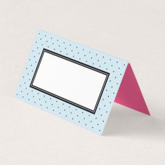 Add Your Text Modern Blue Black Polka Dot Place Card