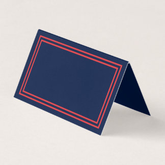 Add Your Text Navy Blue Double Salmon Pink Borders Place Card