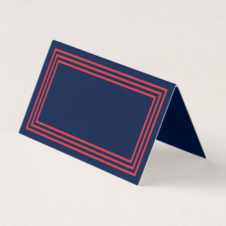 Add Your Text Navy Blue Triple Salmon Pink Borders Place Card