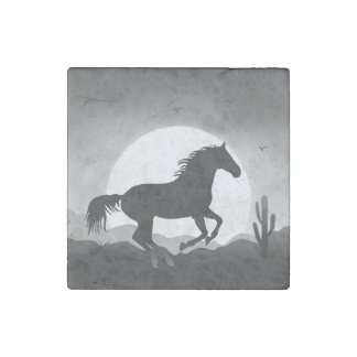 """Add Your Text"" Wild Horse Sunset Silhouette Stone Magnet"