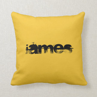ADD YOUR TEXT!YELLOW/BLACK,REVERSED COLORS PILLOW CUSHION