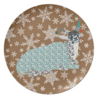 Addax Vintage Brown Snowflake Plate