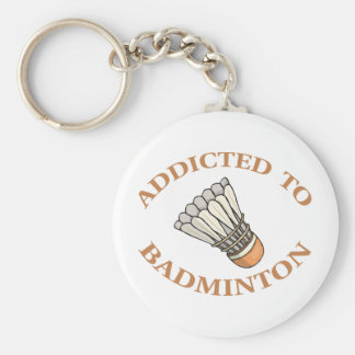 Addicted To Badminton Basic Round Button Key Ring