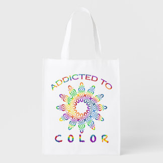 Addicted to Color Rainbow Mandala for Colorists Reusable Grocery Bag