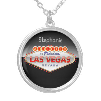 Addicted to Las Vegas, Nevada Funny Sign Silver Plated Necklace