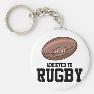 Addicted To Rugby Basic Round Button Key Ring