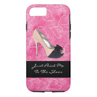Addicted To Shoes Love Hearts Black Pink High-heel iPhone 7 Case