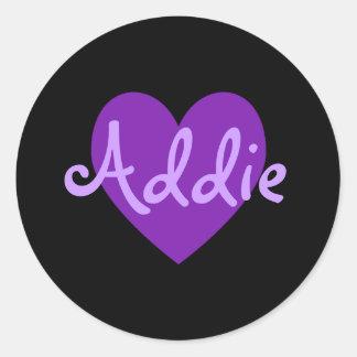 Addie in Purple Classic Round Sticker