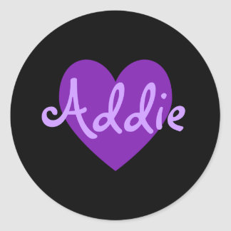 Addie in Purple Round Sticker
