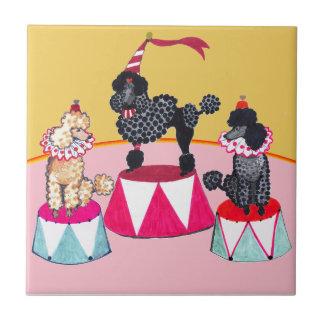 Addie's Circus Poodles Ceramic Tile Trivet