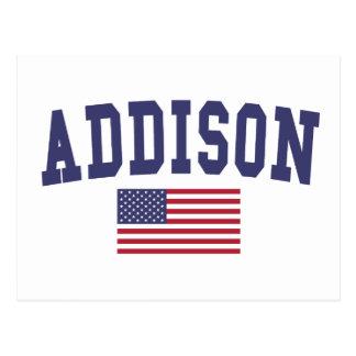 Addison US Flag Postcard