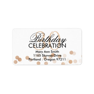 Address 30th Birthday Copper Foil Glitter Lights Label