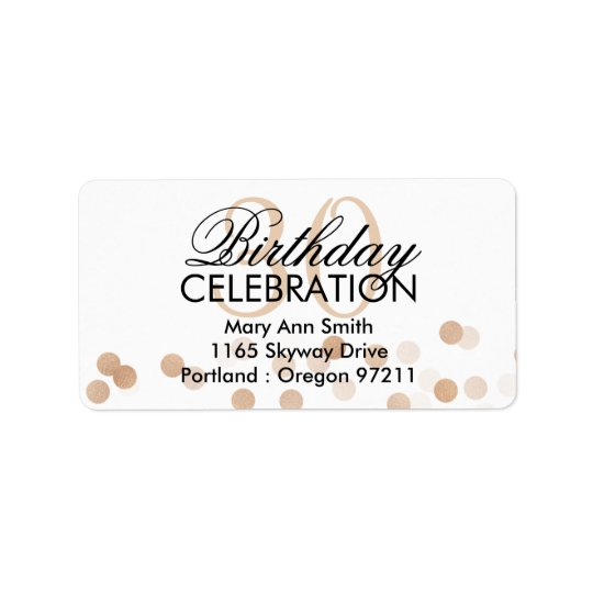 Address 30th Birthday Copper Foil Glitter Lights Label