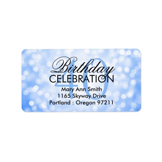 Address 40th Birthday Party Blue Glitter Lights Label