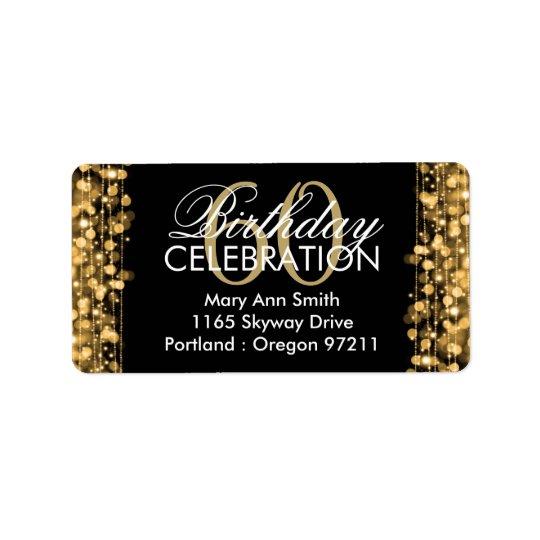 Address Elegant 60th Birthday Party Sparkles Gold Address Label