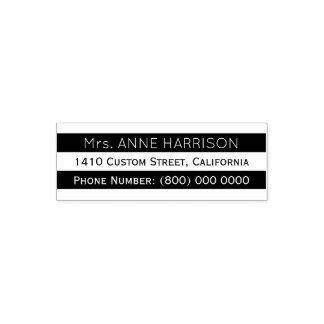 address information with black and white stripes self-inking stamp