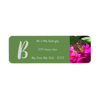ADDRESS LABEL- BUTTERFLY ON A ZINNIA RETURN ADDRESS LABEL