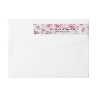 Address Label Chic Watercolor Floral Rustic Wood