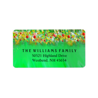 Address Label - Christmas Greens & Decorations