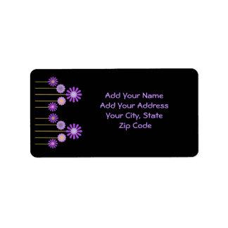 Address Label, Colorful digital flowers on black Address Label
