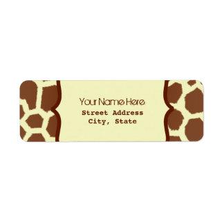 Address Label - Giraffe Print