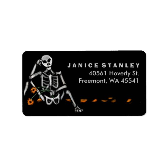 Address Label - Halloween Skeleton Orange Flowers
