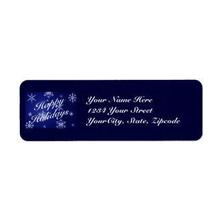 Address Label Happy Holidays - Blue