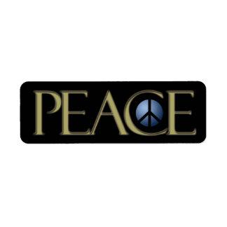 Address Label Peace Sign, Black, Customize