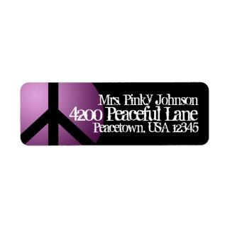 Address Label Peace Sign, Purple, Black, Customize