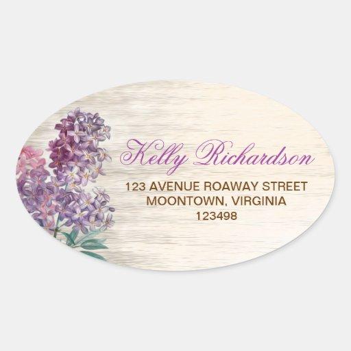 address label - sticker with lilac flowers