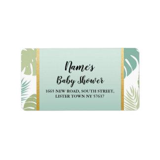 Address Labels Baby Shower Tropical Mint Palm Leaf
