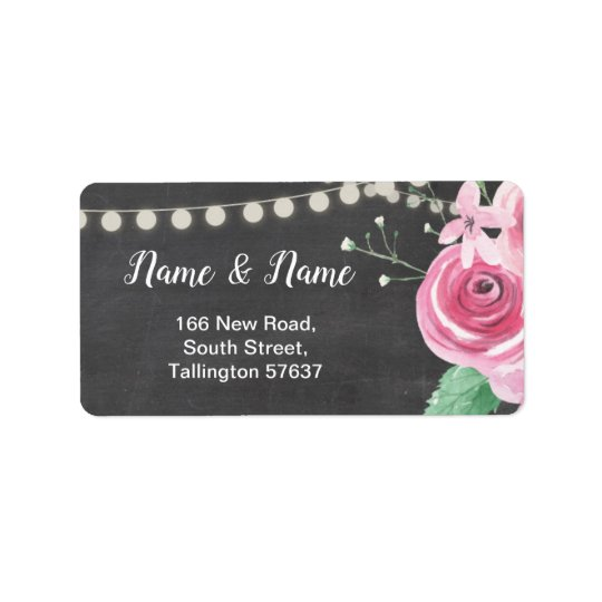 Address Labels Chalk Flower Floral Pink Roses