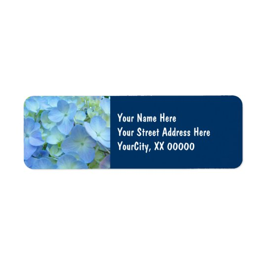 Address Labels custom Blue floral Hydrangeas