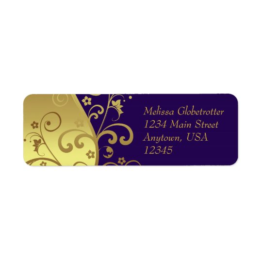 Address Labels--Dark Purple & Gold Swirls Return Address Label
