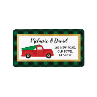 Address Labels Festive Merry Christmas Red Truck