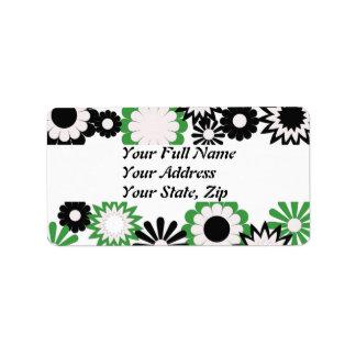 Address labels in black, green, white flowers