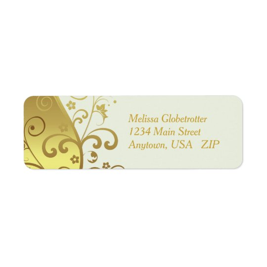 Address Labels--Ivory & Gold Swirls Return Address Label