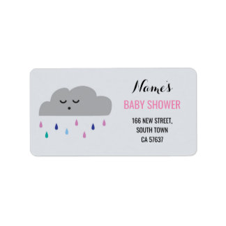 Address Labels Pink Girl Baby Shower Cloud Rain